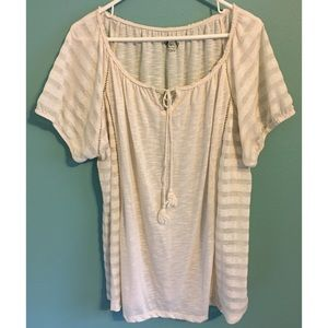 CATO Peasant Top Boho Cream Semi-sheer 22/24 Plus
